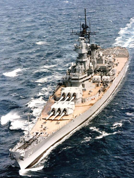 The Battleship Wisconsin, shown here at sea in 1990, is now available for tours at Nauticus in Norfolk.