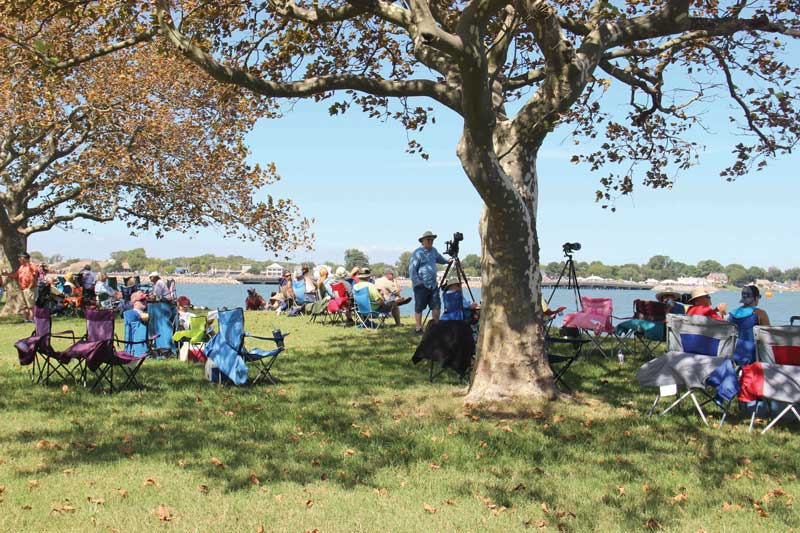 Some spectators choose to sit under shady trees, across from the race course.