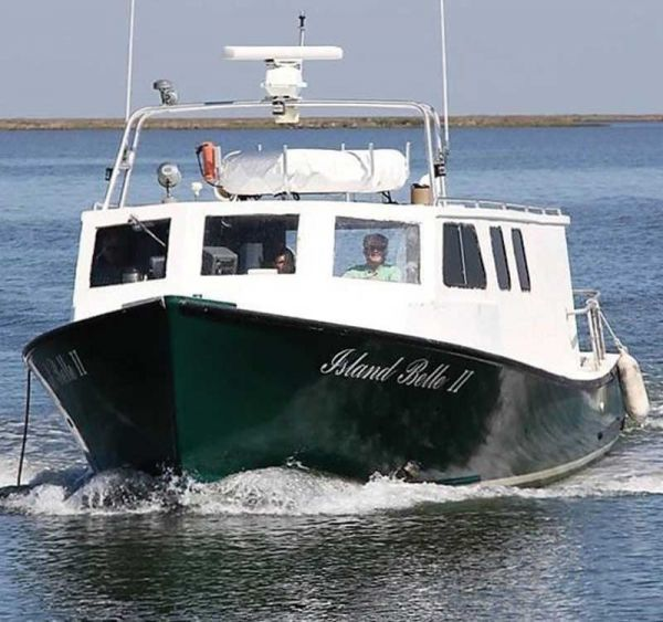 The hard working Island Belle II, the Smith Island mail boat and passenger ferry, is in the shop at Evans Boats in Crisfield, MD, for updates and a face lift.