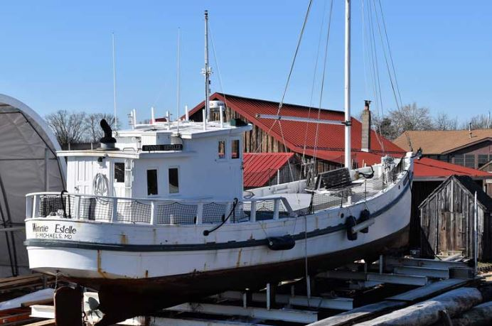 The buy boat Winnie Estelle hauled out for spring maintenance and Coast Guard inspection at the Chesapeake Bay Maritime Museum in St. Michaels, MD.