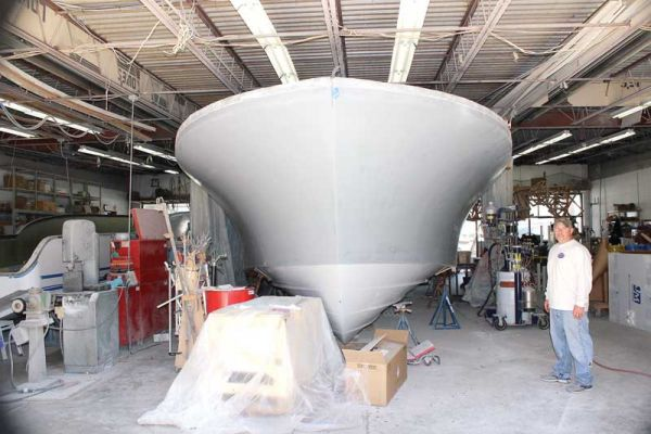 The new CY46 at Composite Yacht in Trappe, MD, out of the mold and being finished. Photo by Rick Franke
