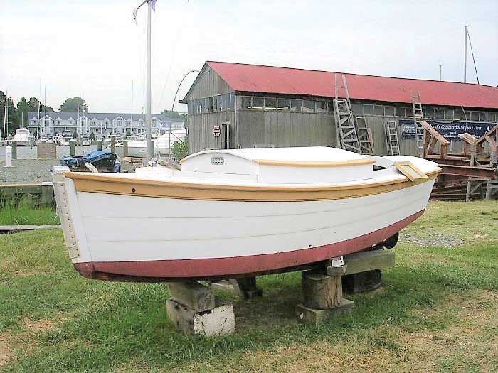 A push boat used by sailing oyster dredgers at Chesapeake Bay Maritime Museum in St Michaels, MD.