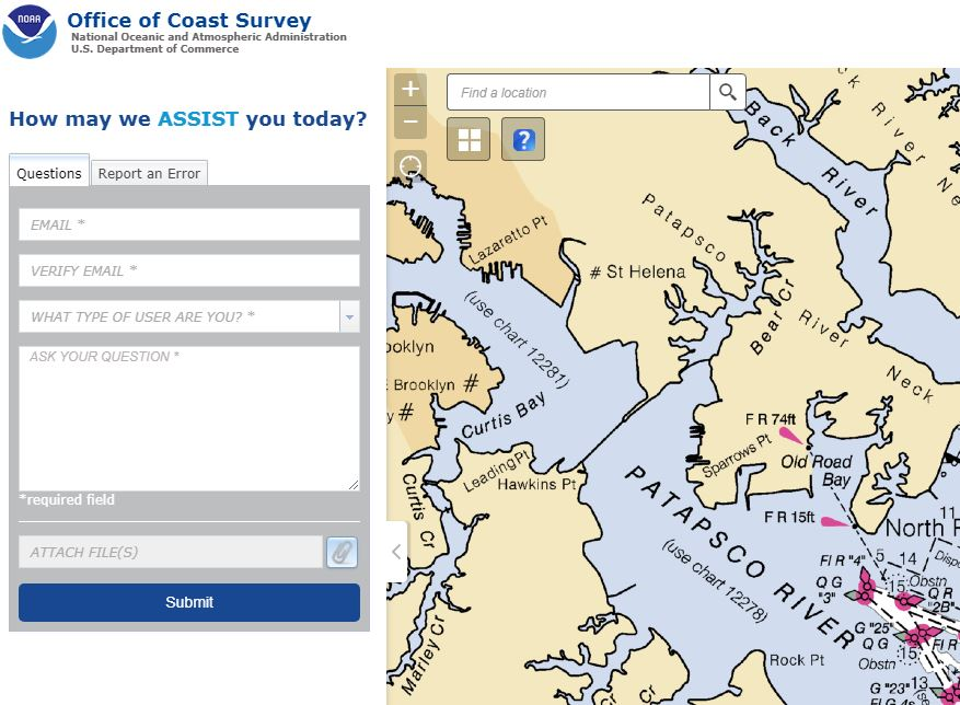 Submit questions and report nautical chart errors on NOAA's ASSIST page.