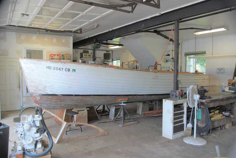 A Lyman 23 being prepared for the Antique and Classic Boat Show in the shop at Marine Service in Edgewater, MD. Photo by Rick Franke