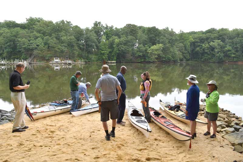 Members of the Chesapeake Paddlers Association prepare to launch after the ribbon cutting ceremony.