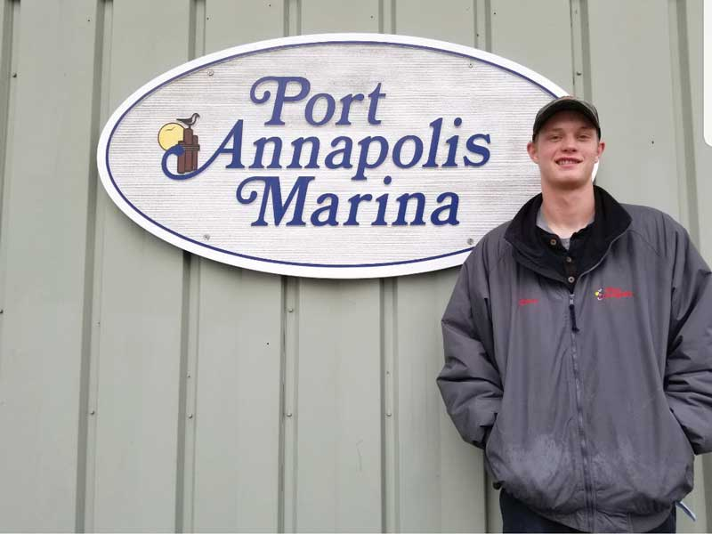 Ethan Walz started four years ago doing marine trades on-the-job training at Port Annapolis Marina.