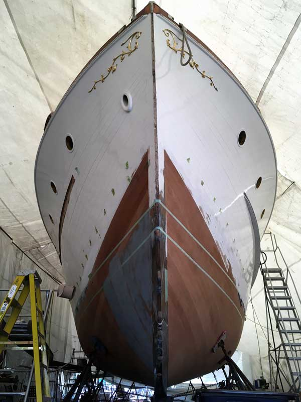 Manatee, a 1955 Trumpy, in the final stages of her bottom replacement at Hartge Yacht Yard in Galesville, MD.