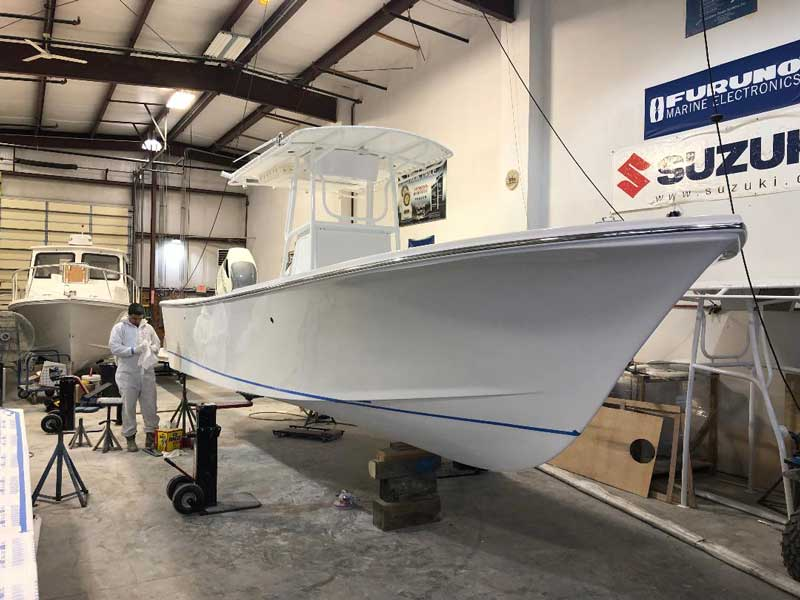 A Judge 265 Center Console nearing completion at Judge Yachts in Denton, MD.