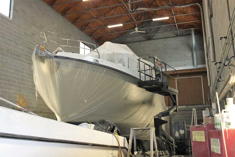 A Nordhaven 40 in for gel coat repairs at Osprey Marine Composites in Tracys Landing, MD. Photo by Rick Franke
