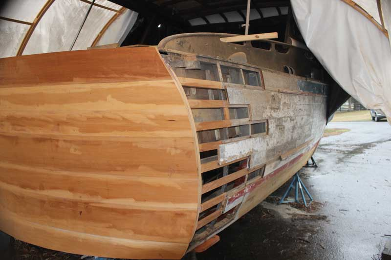 A new transom is part of the restoration of a 1951 Chris-Craft Commander at Marine Service at Pocohontas Marina in Edgewater, MD.