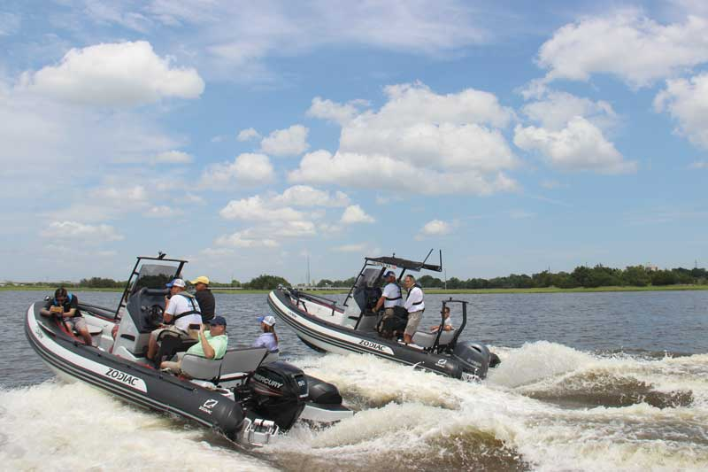 Demoing the Zodiac Open 5.5's on the Ashley River. Photo by PropTalk