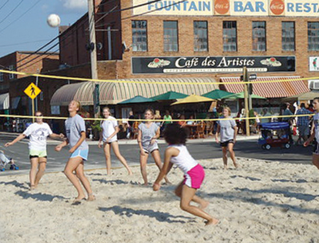 Beach volleyball on the Leonardtown Square. Photo courtesy Town of Leonardtown