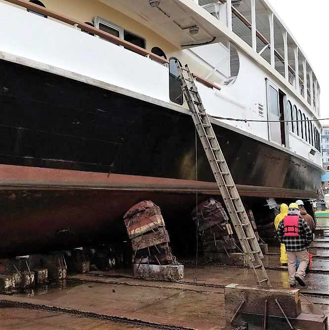 Watermark's Raven hauled out for a bottom repainting at General Ship Repair in Baltimore, MD.