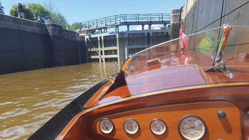 The Hannam's launched their classic boat at Black Rapids Lock Station on the Rideau. Photo courtesy Dave Hannam
