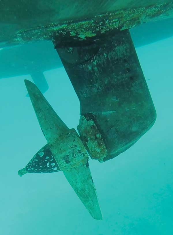 If the water is clear enough, you can check your propeller for physical damage or entanglements.