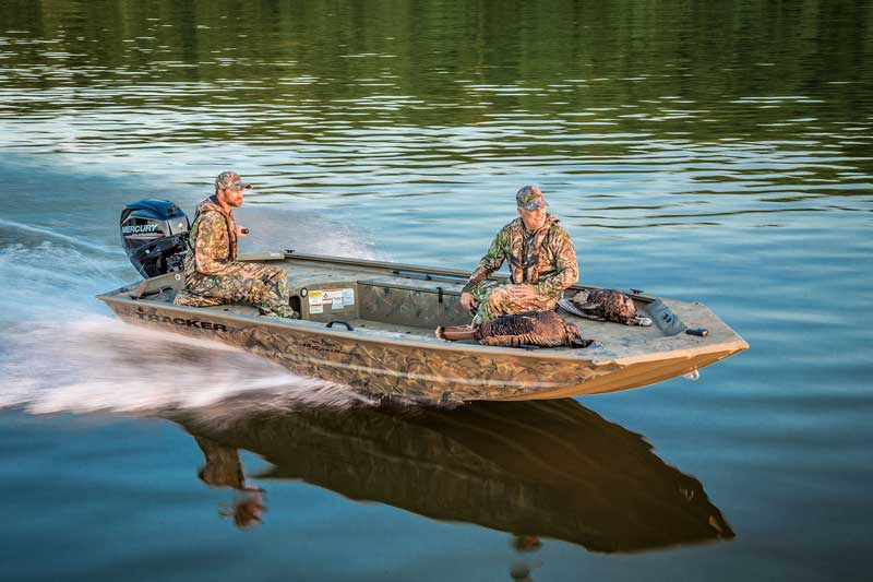 The Tracker Grizzly 1548 T Sportsman is a waterfowling machine that can be easily modified for crabbing and fishing as well.