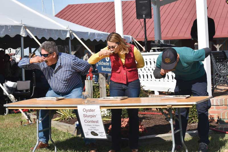 Better bring a bib because some festials, like CBMM's Oysterfst, even have an Oyster Slurpin' Contest. Courtesy CBMM