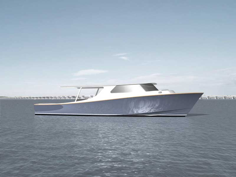 The first rendering of the profile of the Lou Codega-designed, custom CY55 being built by Composite Yacht in Trappe, MD.