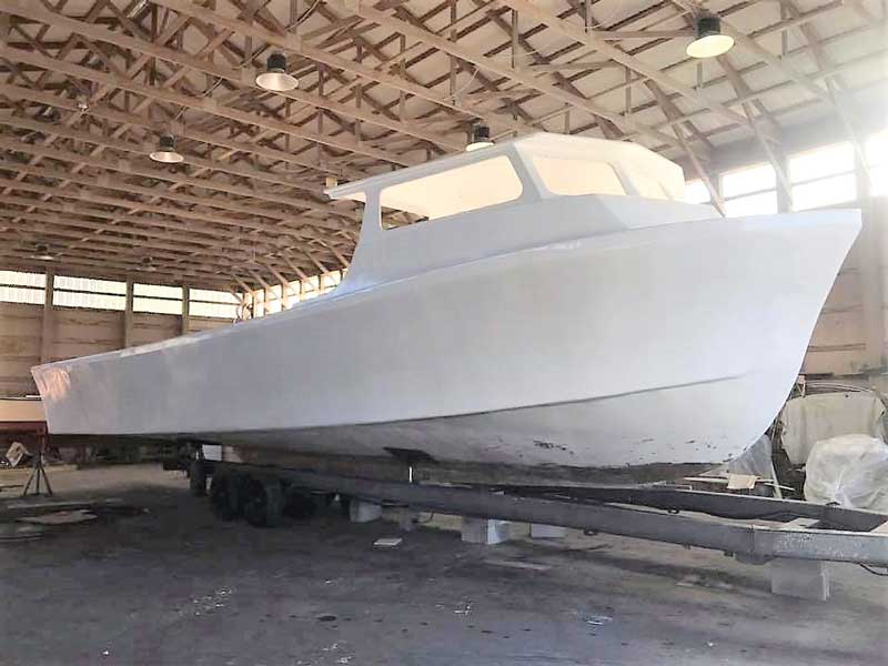 The final custom Evans 43 being completed at Evans Boat Repairs in Chrisfield, MD.