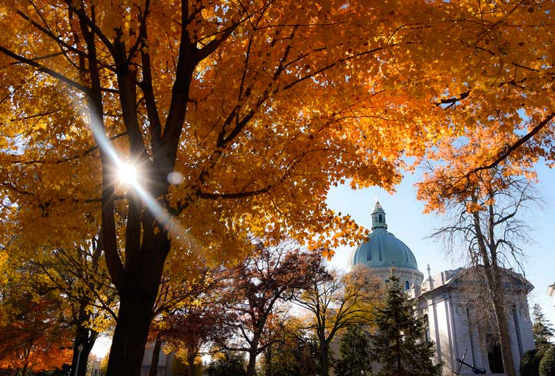 The USNA Chapel dome in fall. Photo by Elizabeth Wrightson