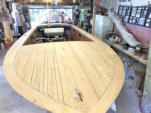 A 1966 Shepherd runabout with a newly refastened deck at Classic Watercraft Restoration in Annapolis, MD.