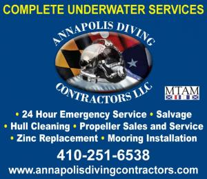 Annapolis Diving Contractors is a Complete underwater services. 24 hour emergency service. Salvage. Hull cleaning. Propeller sales and service. Zinc replacement. Mooring installation.