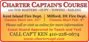 Charter Captains Course for 100 ton masters, OUPV, Towing, and Sailing classes in Kent Island and milford, DE