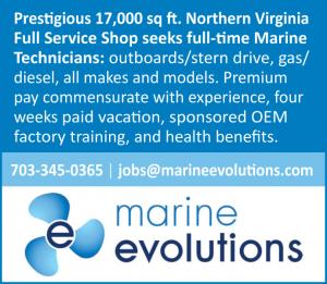 Marine Evolutions, a prestigious 17,000 square foot Northern Virginia Full Service Shop seeks full-time Marine Technicians.