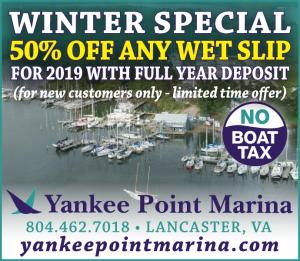 Yankee Point Marina is a clean marina located in Lancaster, Virginia, with wet slips, dry storage, pool, picnic areas, pump out, ships store, boatyard, and much more.
