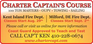 Earn your Captain License - 100 Ton Masters, OUPV, Towing, Sailing. Two locations Kent Island Fire Dept. and Milford, DE Fire Dept.