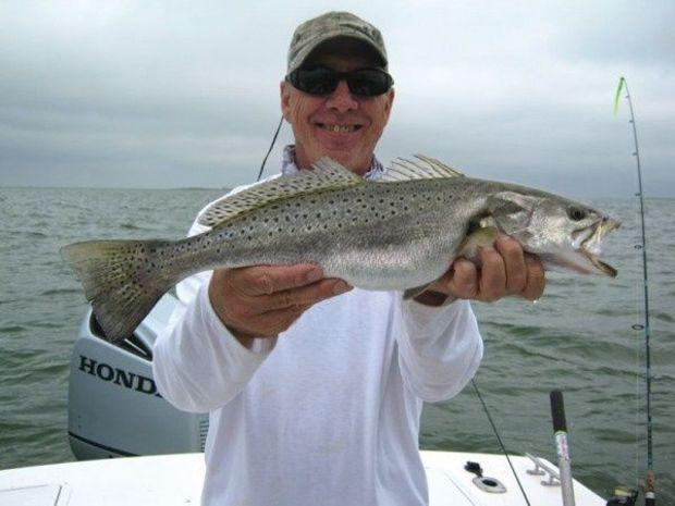 Tim Campbell with a nice speckled trout. Photo courtesy of Tim Campbell
