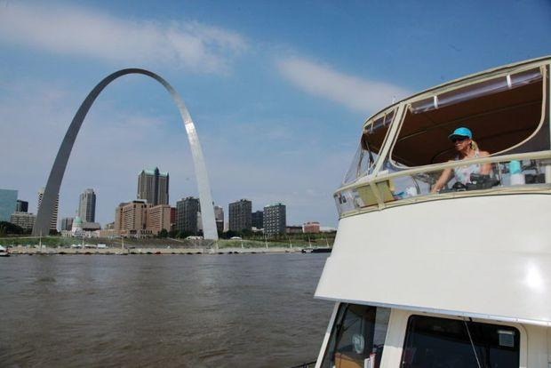Passing St. Louis on the Missippi River. Photo by Phillip Kent Barbalace