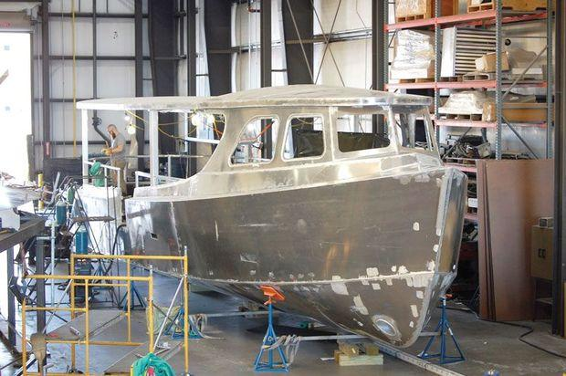 Thurgood's Justice, Sagamore water taxi number three ready for the paint shop at Maritime Applied Physics in Baltimore.