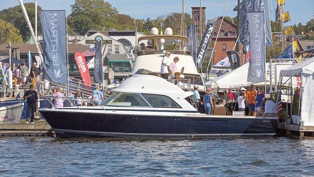 You'll find the Bertram 35 at the United States Powerboat Show in Annapolis on Dock E1.
