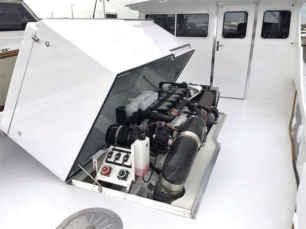 A Catapillar C-18 diesel installed in a new CY46CB just launched at Composite Yacht in Trappe, MD.