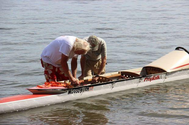 Charlie Iliff and Mike Serio readying the PropTalk boat.