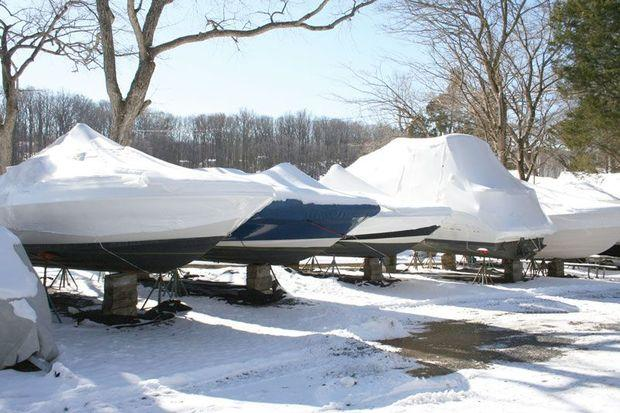 Make sure to have your boat covered with custom canvas or shrink wrap.