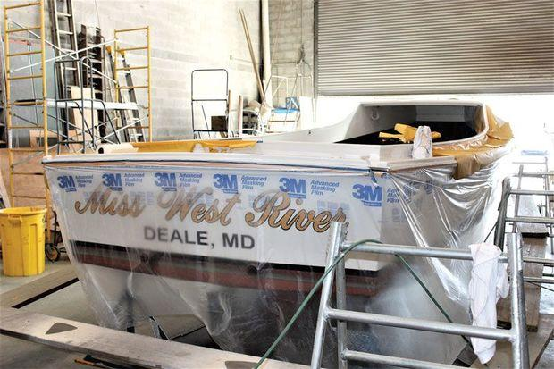 Miss West River, a 28-foot classic bay built deadrise getting a face lift at Phipps' Boat Works in Deale, MD. Photo by Rick Franke