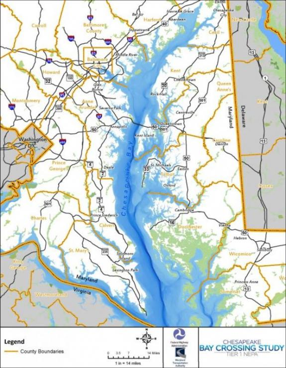 The study area is a broad geographic area that includes the entire length of the Chesapeake Bay in Maryland. Courtesy MDTA