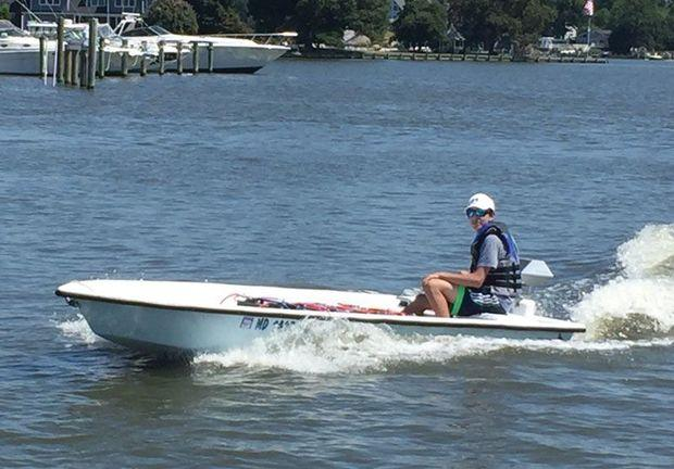 The first boat tested was a 14-foot bonefish skiff.