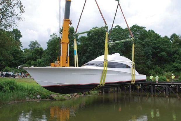 Special Situation, an F&S 78, being launched at F&S Boat Works in Bear, DE.