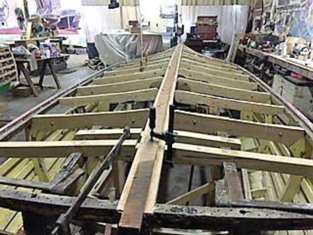 A 1936 Chris-Craft is being re-planked at Classic restoration and Supply in Philadelphia, PA. Photo by Chad Brenner