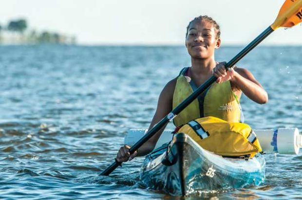 Paddling on the Nanticoke River on an Outward Bound trip. Photo by Peter Turcik/ Chesapeake Conservancy