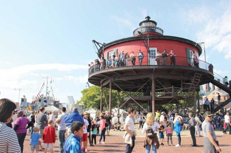 The Seven Foot Knoll Lighthouse, located at Pier 5 in the Inner Harbor, is available for self-guided tours on weekends.