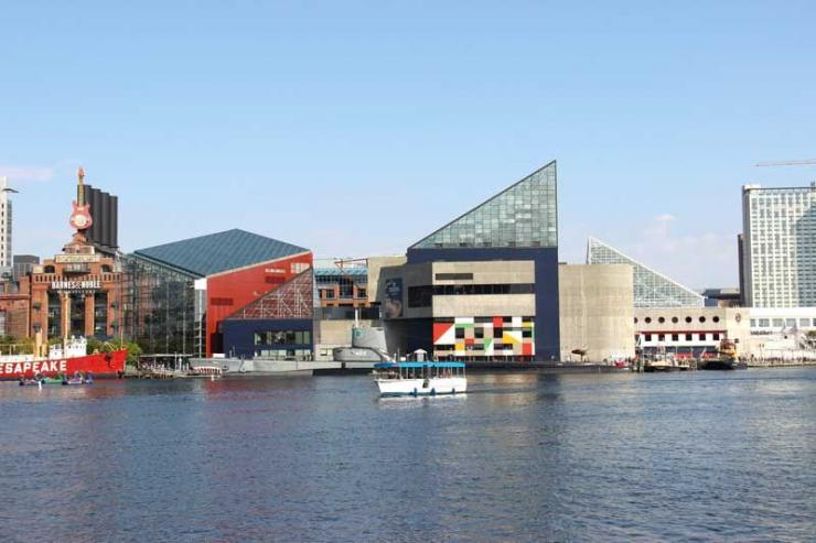There's plenty to see and do in Baltimore's Inner Harbor, including the National Aquarium (Pictured center).