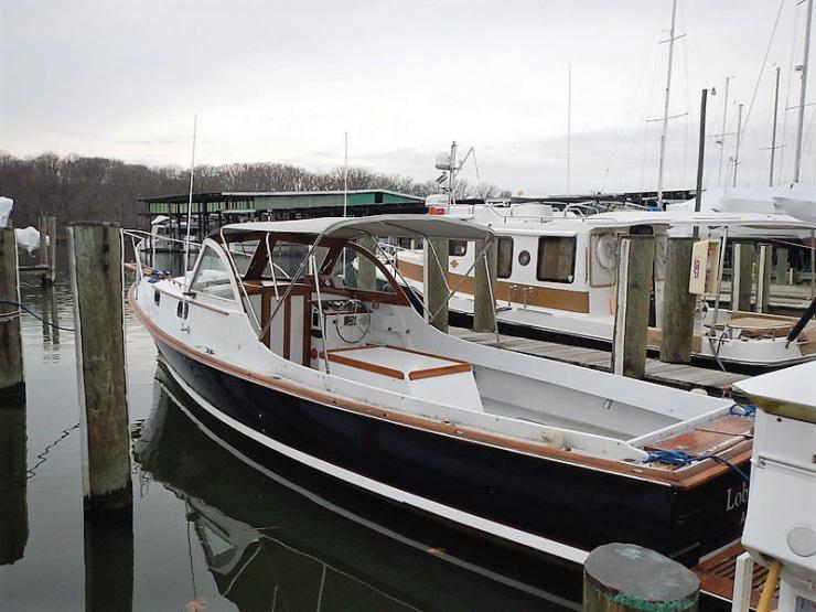 A Wasque 32 in for a paint and trim freshening up at Hartge Yacht Harbor in Galesville, MD.