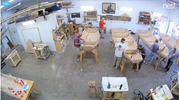 Student builders complete their dinghy kits under the watchful eye of their instructor in the shop at Chesapeake Light Craft in Annapolis, MD.