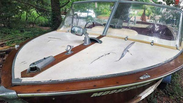 A 1964 Chris Craft Century arrives at Classic Watercraft Restoration in Annapolis, MD.