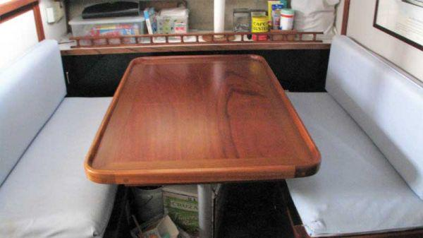A repaired and refinished dinette table at Hartge Yacht Harbor in Galesville, MD.