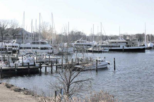 An eclectic mix of workboats, yachts, and commercial tour boats shelter from winter's blasts in Back Creek in Annapolis, MD. Photo by Rick Franke